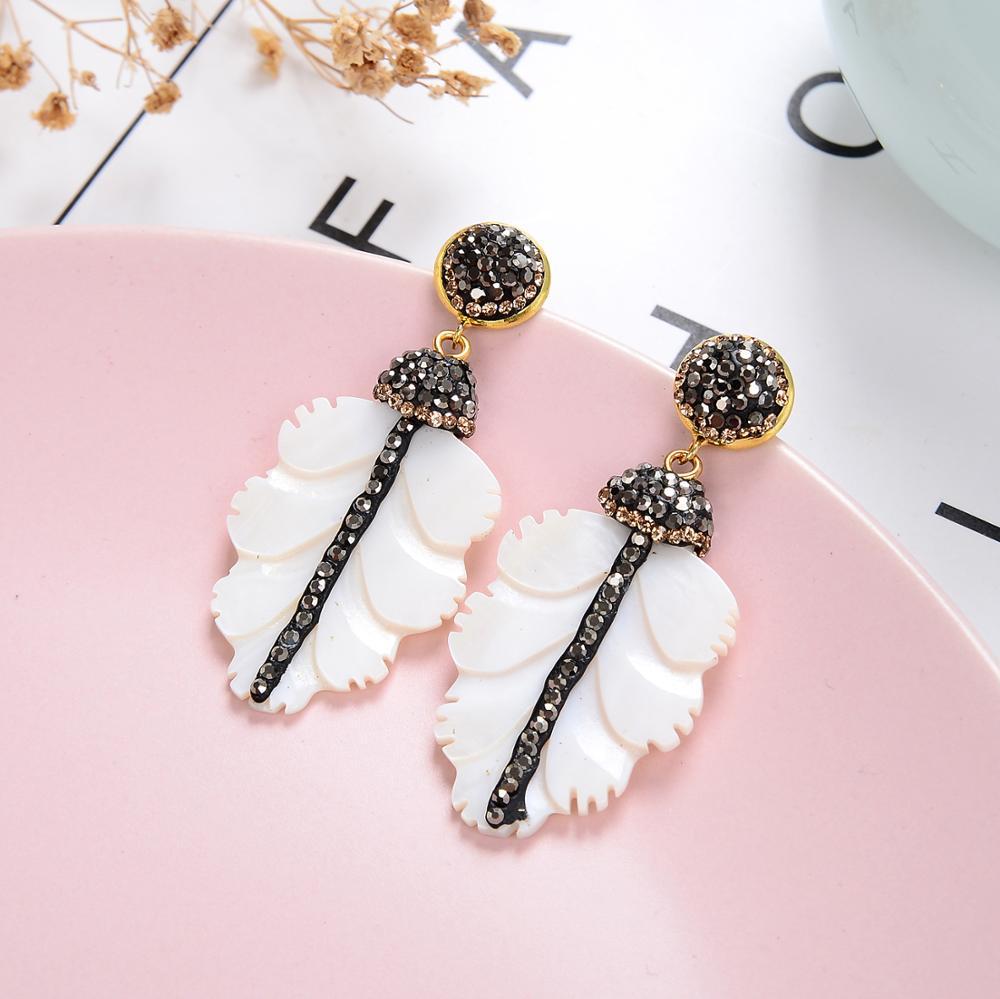 New Vintage Natural Shell Earrings For Women 2020 Fashion Leaf Shape Long Drop Earrings Women Jewelry Christmas Friends Gifts