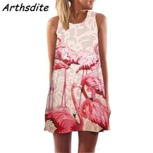 Arthsdite Flamingo Print Chiffon Casual Summer Dress 2019 Sexy Sleeveless O-neck Off Shoulder Women Mini Vestidos
