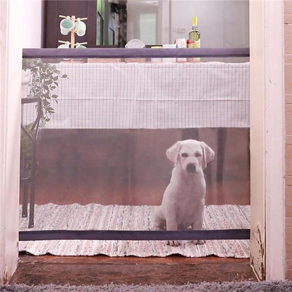 Dog Gate Doorway  Safety Fence Door Portable  Folding Security Door Guard Protection  Safety Products Net Pet Door For Dog Baby