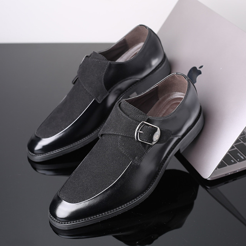 2019 New Loafers shoes men casual shoes Patchwork buckle loafers for male Non slip Wear resistant men leather shoes in Men 39 s Casual Shoes from Shoes