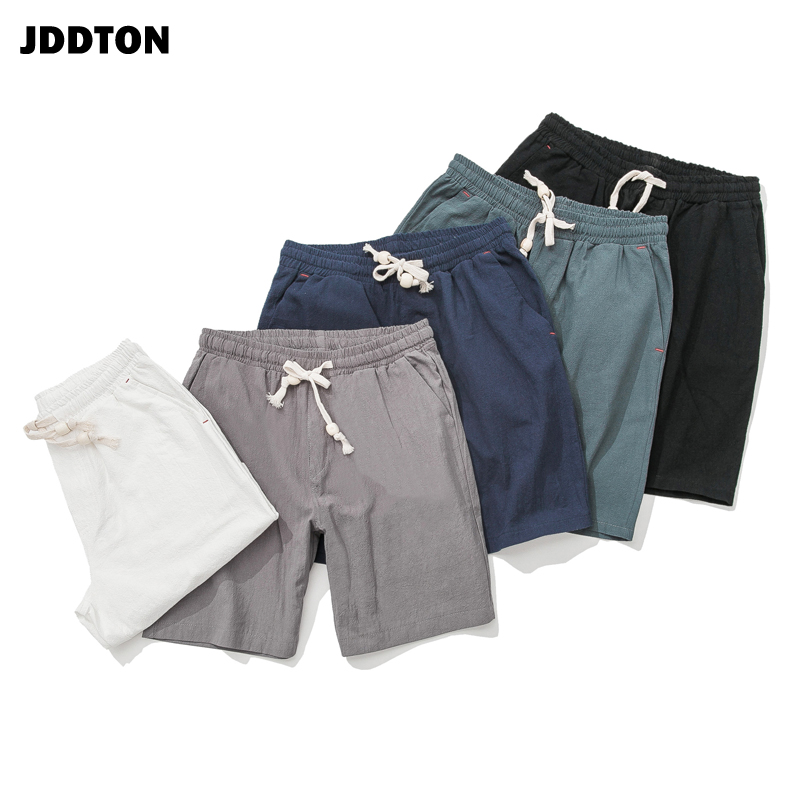 JDDTON Summer Men's Cotton Linen Soild Casual Shorts Loose Comfortable Drawstring Soft Short Breathable Male Streetwear JE101