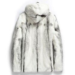 Real Mink Fur Coat Men Warm Winter Jacket Hooded Short Natural Fur White Luxury Coat Mens Mink Jackets KJ1509