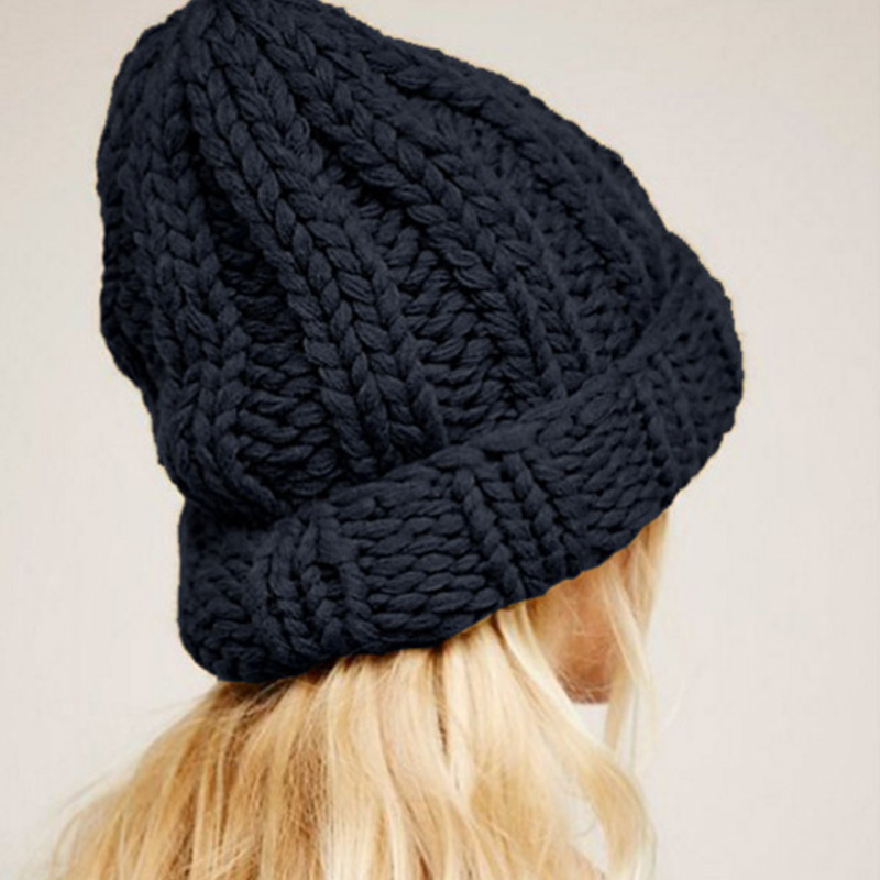 Women Hand Made Knitting Hat High Quality Customizable Logo Winter Warmer Ear Thick Soft Beanie Lady Chunky Knitted Rib Hats 92