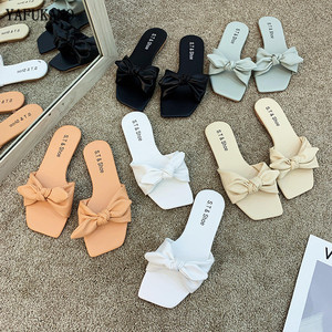 Square Toe Bowknot Summer Slippers Solid Brief Casual Shoes Woman Cute Flats Slides Comfy Female Flip Flops All Match Footwear