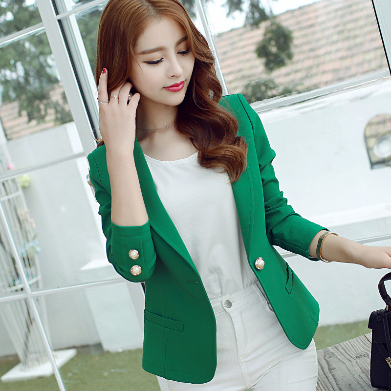 Black Women Blazer Notched Collar Lady Office Work Blazers Jacket Slim Green Single Button Outerwear Elegant Bleiser Feminino