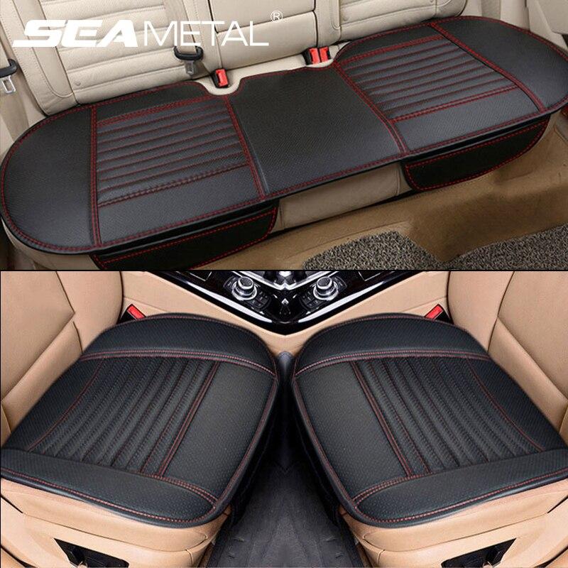 Quatro estações capa de assento do carro couro do plutônio carros almofada do assento automóveis protetor de assento universal cadeira carro almofada esteira acessórios automóveis