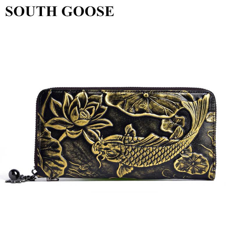 Cartera de mujer de cuero genuino de ganso del Sur monedero de lujo para mujer cartera larga con estampado Floral y pez para chica Multi- tarjeta de bolsa de dinero