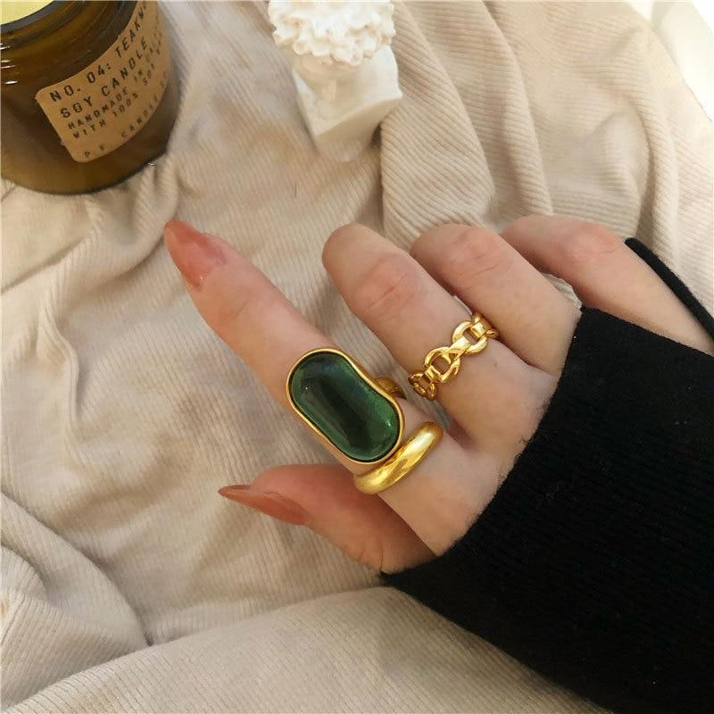 925 de plata esterlina de piedra verde anillos de Color dorado Retro apenado apertura hecho a mano anillo de moda joyería fina