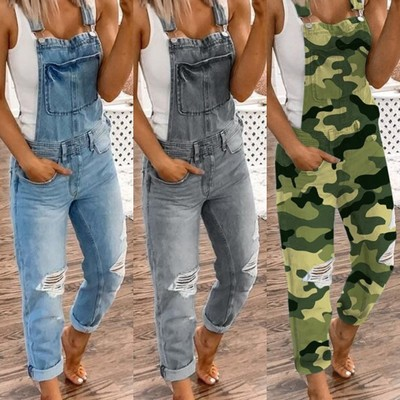 Women Denim Bib Overalls Jeans Jumpsuits And Rompers Ladies Ripped Hole Casual Long Playsuit Pockets Jumpsuit