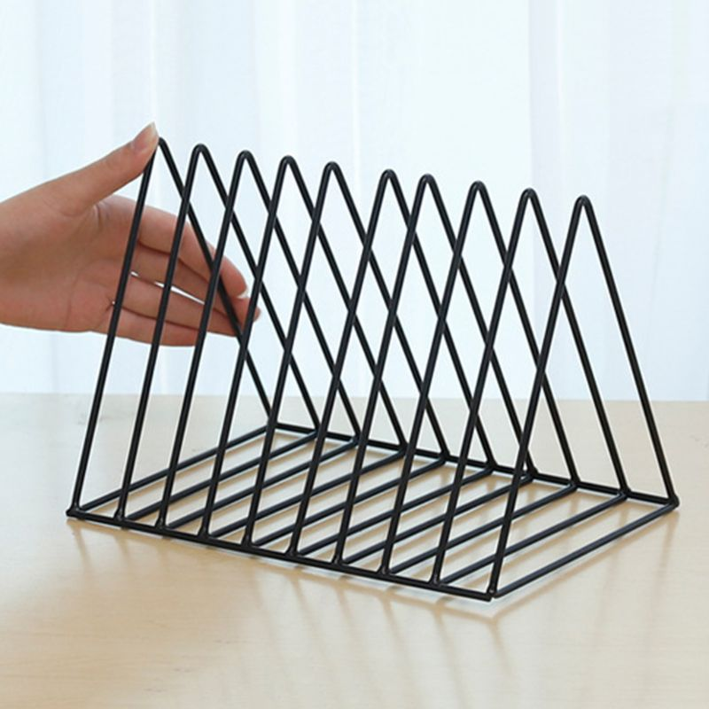 Iron LP Record Rack Triangle Book Magzine Holder Desk Record Storage Organizer