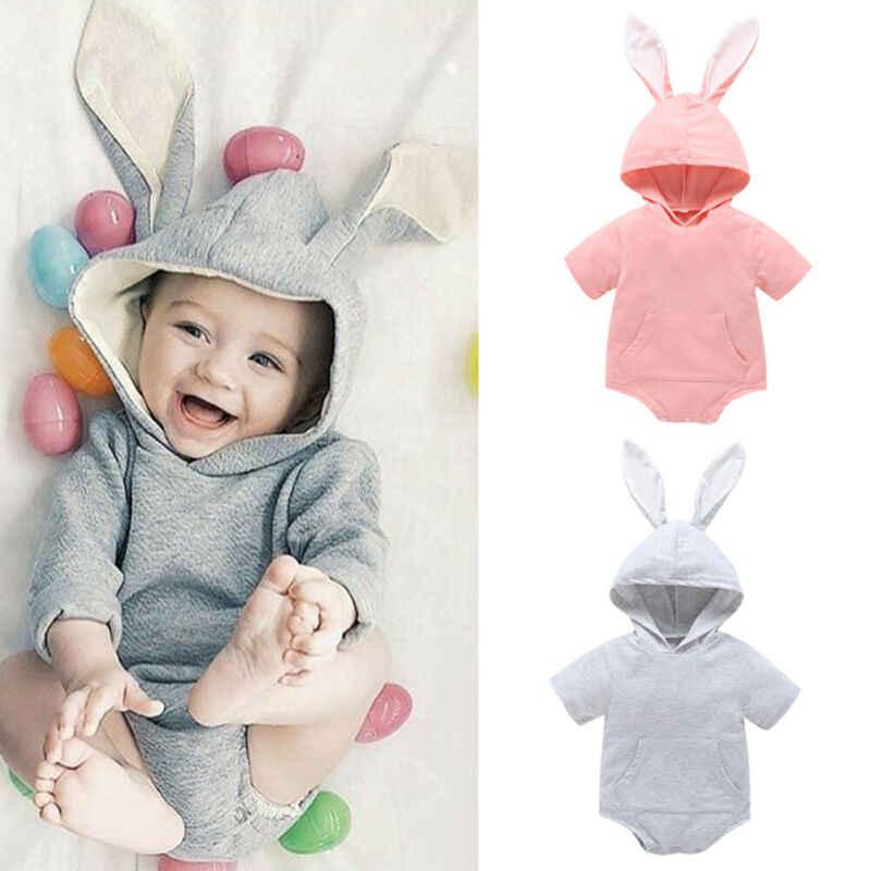 Newborn Baby Girls Boys Easter Bunny Short Sleeve Romper Bodysuit Outfits 0-18M