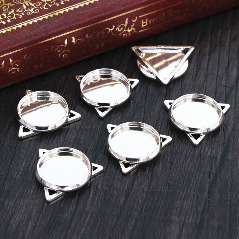 16pcs 12mm Inner Size Silver Plated Brass Material Simple Style Cabochon Base Cameo Setting Charms Pendant Tray (A2-49)