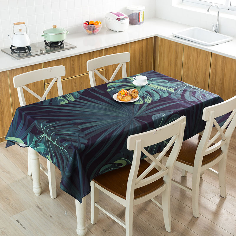 Green Tropical Plant Leaves Table Cloth Waterproof Linen Tablecloth Home Decor