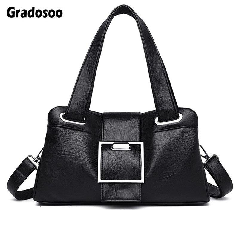 Gradosoo Luxury Shoulder Bags For Women Handbags PU Leather Messenger Fashion Totes Female Large Capacity LBF627