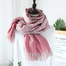 High quality Women Cashmere Scarf Plaid Winter Soft Warm Lon