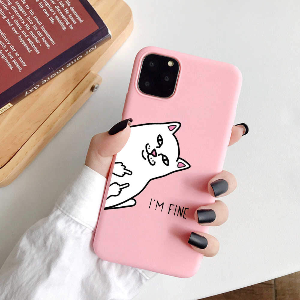 Silicone Phone Cases For iPhone X XR XS Max 7 8 Plus 6 6S Funny hand Pattern Cute Cartoon Cat Cover for iphone 11 Pro Soft Case