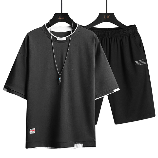 2021 Summer Men Casual Sports Sets Round Neck T-shirt Shorts Solid Color 2 Piece Suit Fashion Sports Breathable Mens Clothes 3