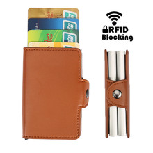 купить 2019 Designer Business Credit Card Holder RFID Protection Double Stainless Steel Box PU Leather Fashion Card Bag Case Wallet дешево