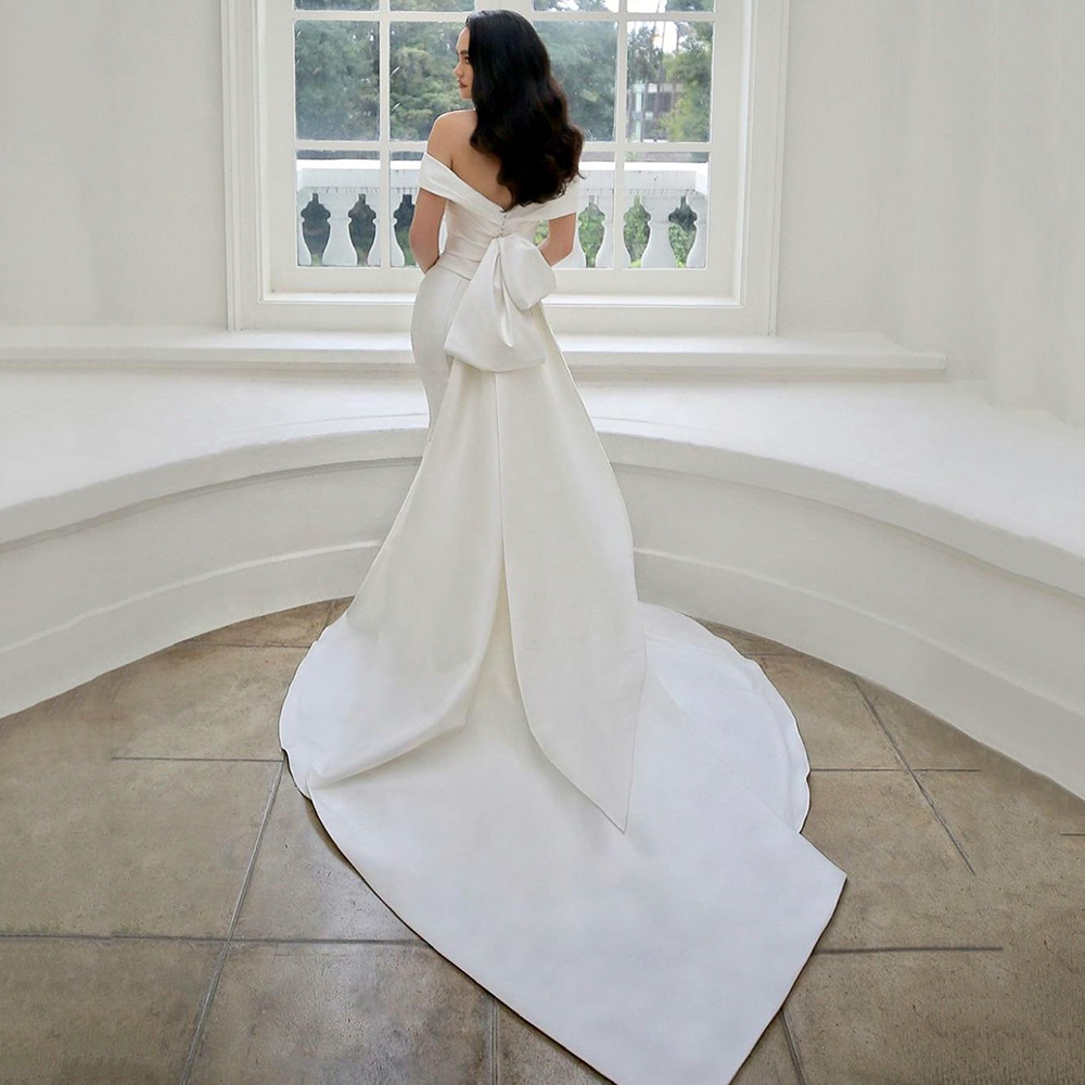 Eightale Simple Satin Mermaid Wedding Dresses Off The Shoulder Bridal Gown With Detachable Bowknot Vestido de corte sirena 2021