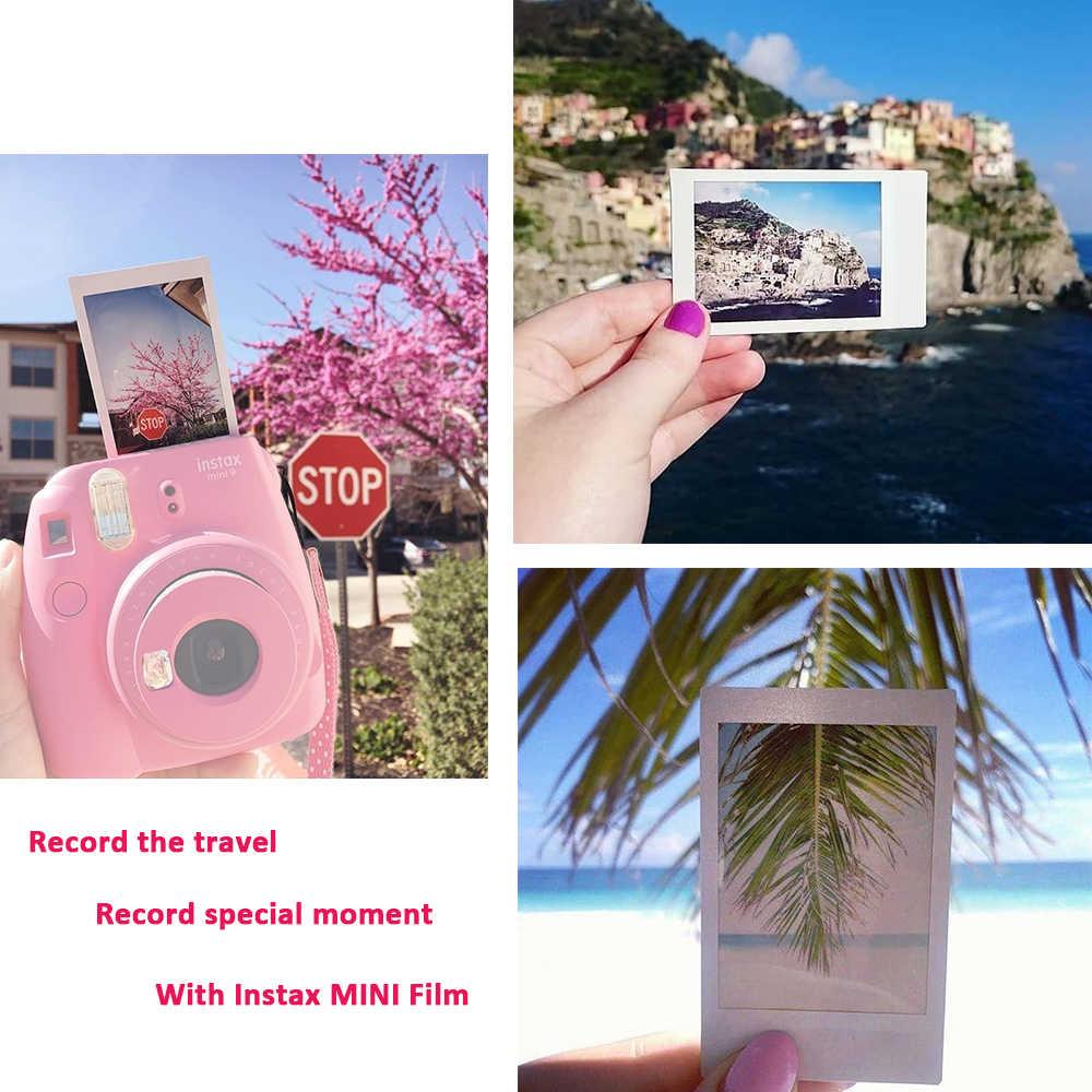 كاميرا Fujifilm Instax Mini 9 فيلم فورية + 20 لقطة Instax Mini 8 صور أفلام بيضاء + حقيبة حمل/ألبوم/قلم/ملصقات