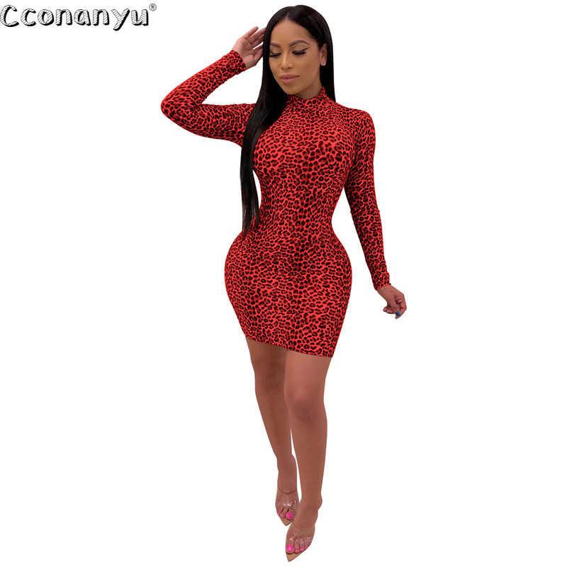 Sexy Luipaard Print Jurk met Lange Mouw Vrouwen Rode Slanke 2019 Herfst Pakket Hip Lady Casual Elegante O-hals Mini Party jurken
