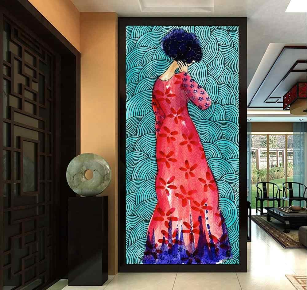 [自己粘着] 3D 女性赤ドレス WG269 壁壁紙壁画壁印刷デカール壁壁画ベリー