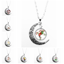 HOT! 2019 Latest Christmas Happy Cartoon Series Glass Convex Fashion Ladies Pendant Necklace Jewelry Gift