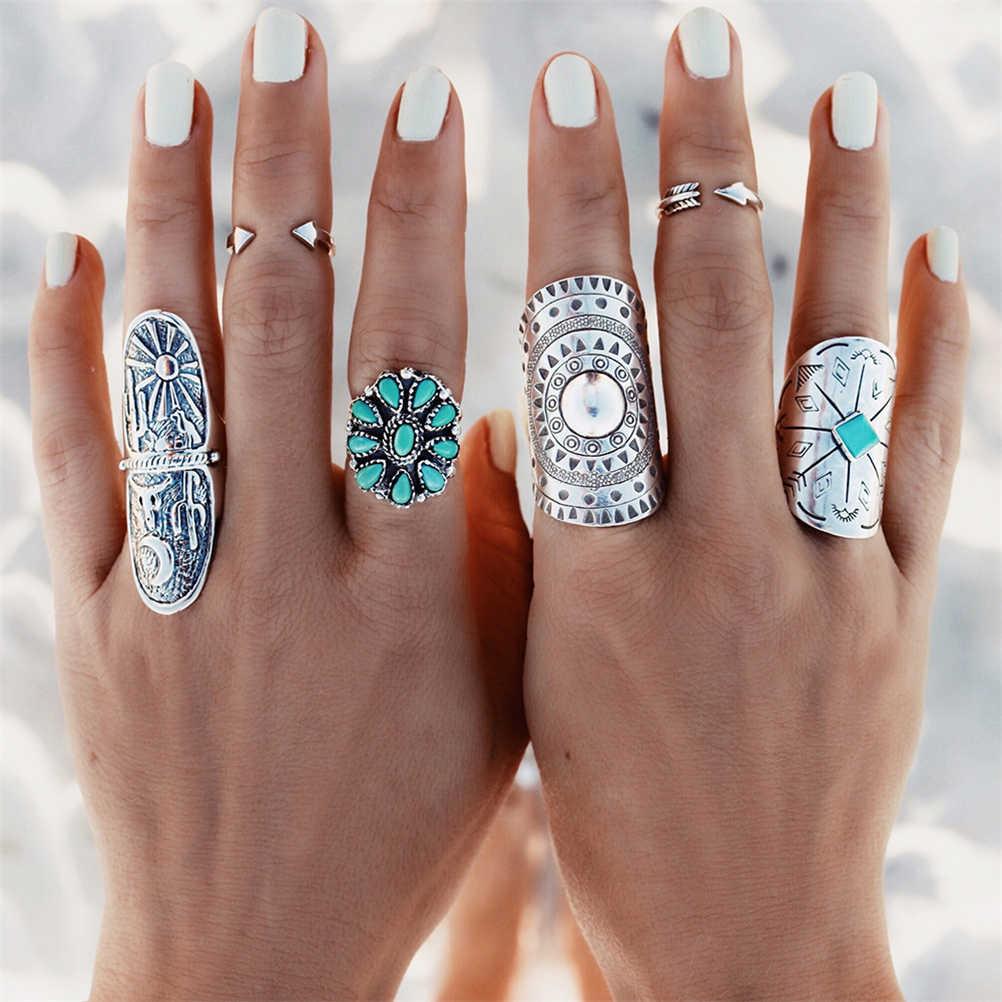 9 ชิ้น/เซ็ตเงินสี Bohemian ชุด VINTAGE Punk แหวนหินสำหรับผู้หญิง/ผู้ชายเครื่องประดับ