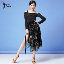 New Adult Latin Dance Hip Scarf Fashion Print Skirt Female Chiffon Slim Fit Practice Clothes Dancing Costume Tops
