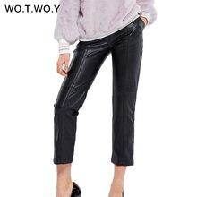 WOTWOY, осенне-зимние кожаные узкие брюки с высокой талией, женские уличные облегающие длинные кожаные брюки, женская одежда Harajuku