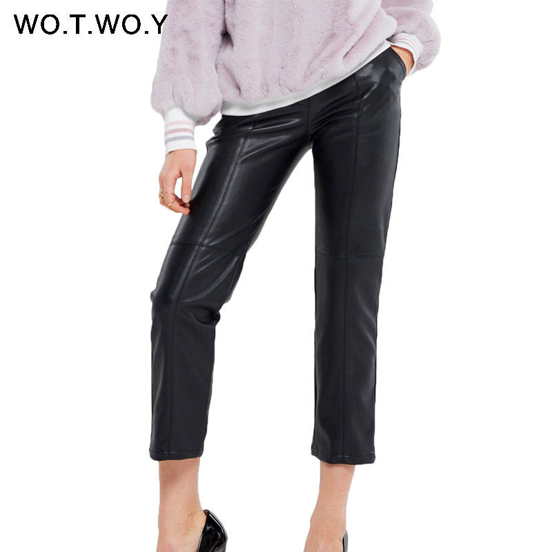 WOTWOY 2019 Autumn Winter High Waist Leather Pencil Pants Women Streetwear Slim Long Leather Trousers Female Harajuku Clothes