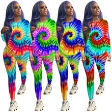 Color Shaded Two Piece Set Asymmetrical Pullover Modest Style Bohemian Cute Casual Tie Dye Printed Tracksuit Plus Size Clothing
