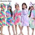 Новые зимние фланелевые мягкие теплые банные халаты с единорогом, детская одежда для сна, банный халат с единорогом, банные халаты
