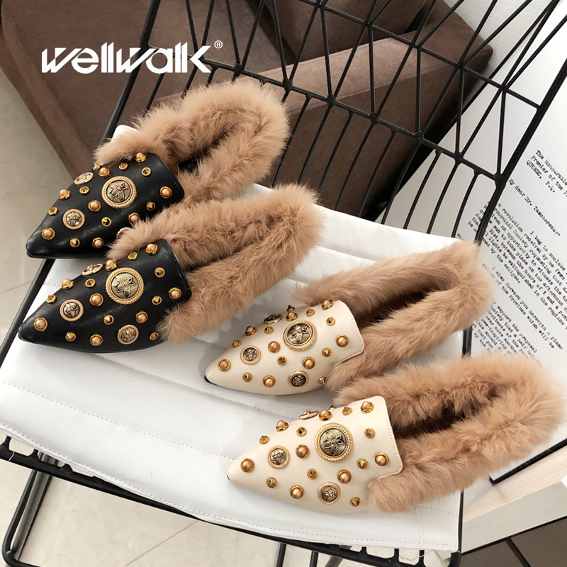 Fur Bee Shoes Women Winter Loafers Stud Rivets Pointed Toe Female Fashion Moccasins Plush Slip On Ballet Flats Woman 2019 New