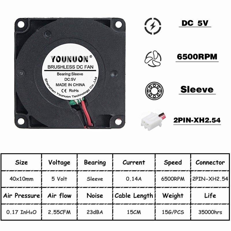 Комплект из 2 предметов, 40 мм 3D-принтеры вентилятор 12В 24В 5В 4010 воздуходувка принтер аксессуары для систем охлаждения DC Турбовентилятор Радиальные Вентиляторы 40x40x10 мм - Цвет лезвия: 5V Sleeve