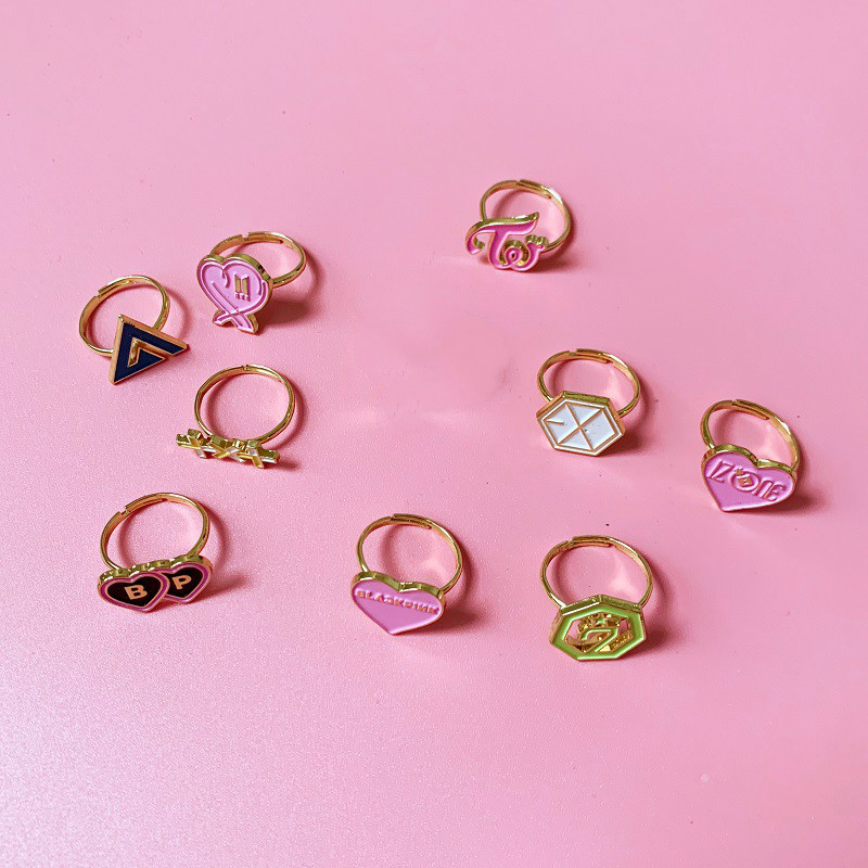 Kpop Rings IZONE Blackpink Twice Got7 TXT SEVENTEEN Alloy Rings K-pop Stationery Set High Quality Exquisite Box Package