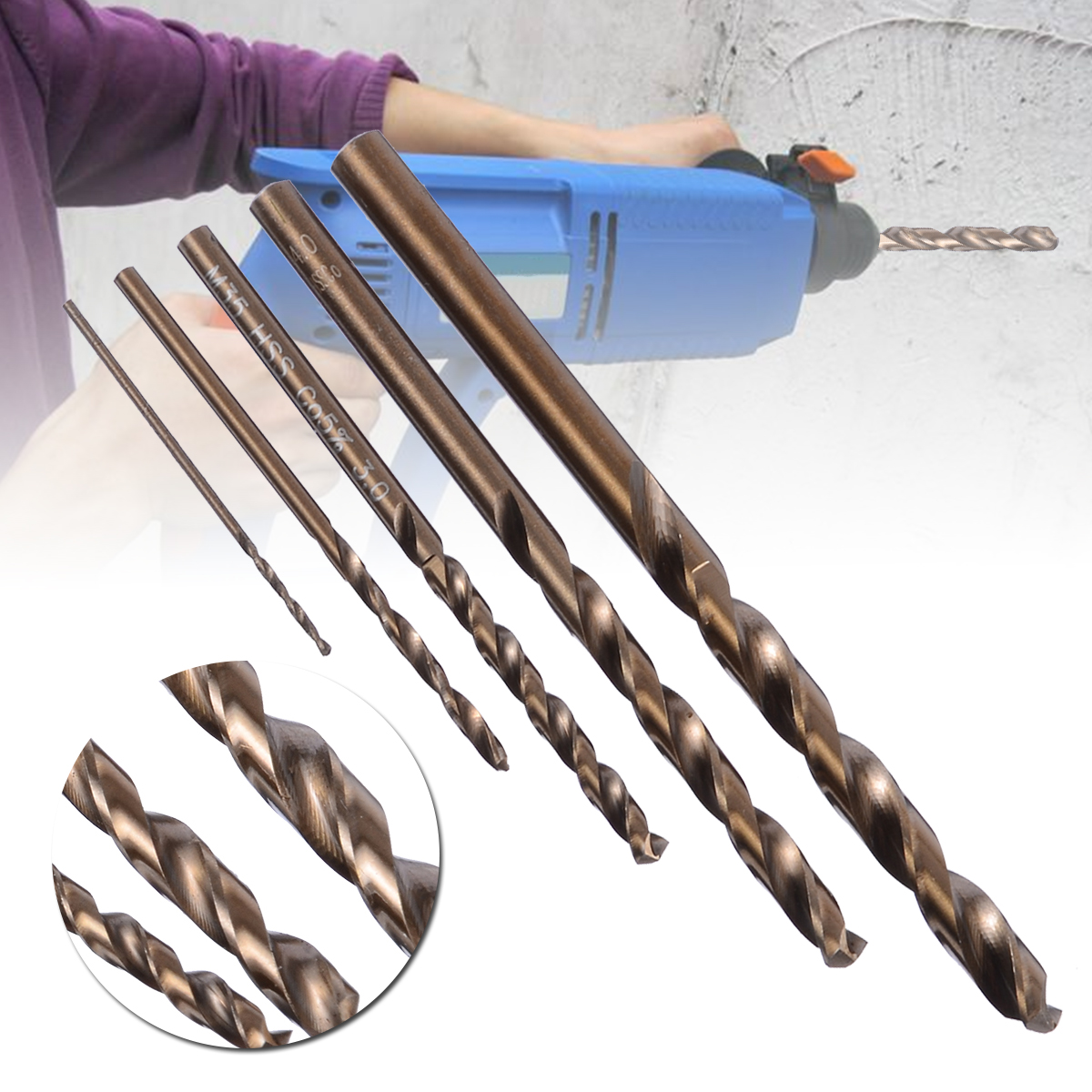 5Pcs Drill Bit Set HSS CO M35 Cobalt Twist Drill Bits For Metal Steel 1mm 2mm 3mm 4mm 5mm Mayitr Power Tools