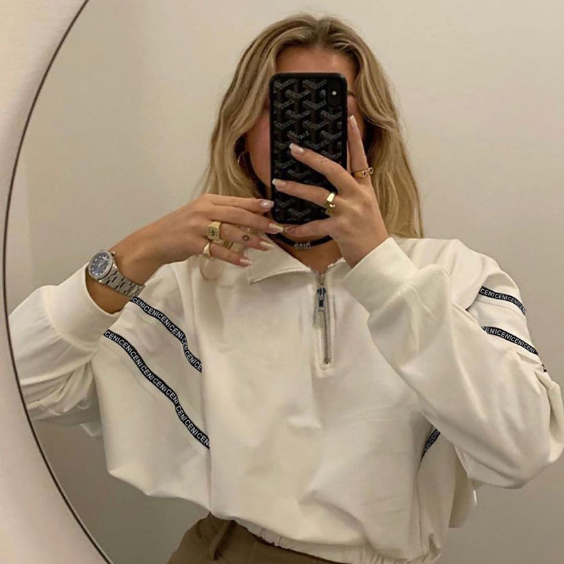 SEASONS Female White Casual Cropped Swearshirt Mujer Woman 2020 Spring Long-sleeve Zipper Leisure Pullover Crop Top ASHO80530