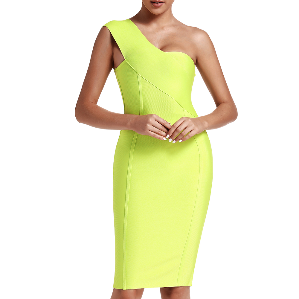 Image 2 - Ocstrade Celebrity Bandage Dress New Arrival 2019 Summer Women Neon Green Bandage Dress Bodycon One Shoulder Evening Party Dress-in Dresses from Women's Clothing