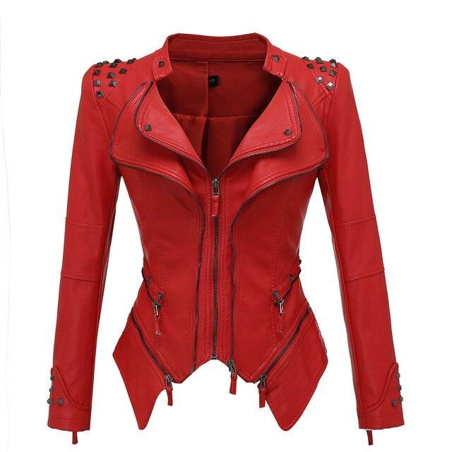 Vestes en Faux cuir femme manches longues, moto lisse, automne hiver motard Streetwear noir et rose manteau 3