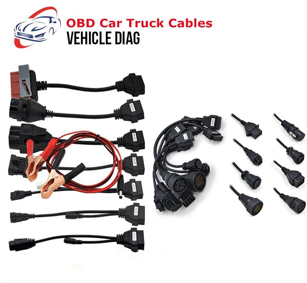 Hot Sale OBD Truck Cables OBD2 Car Cables Diagnostic Adapter Connector 8 PCS Full Set  Car Truck Cables For Diagnostic Tool