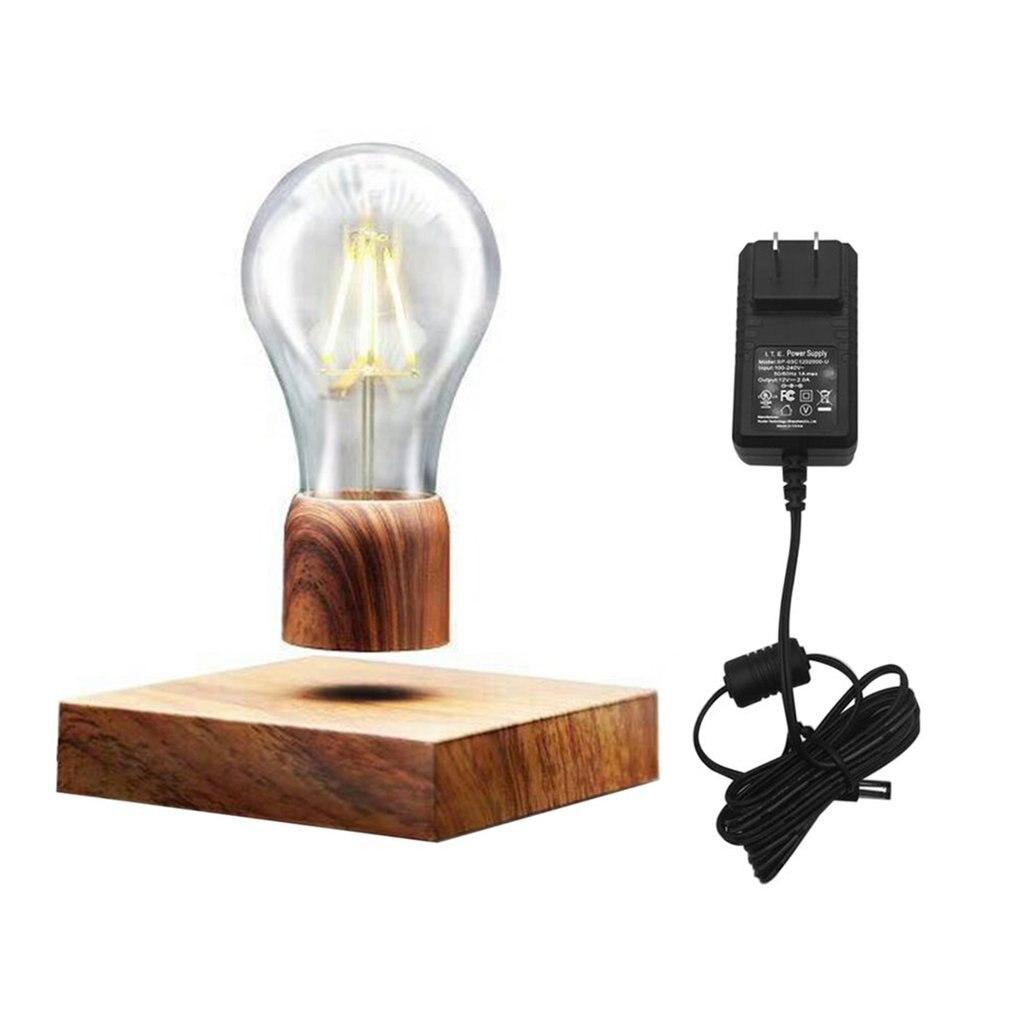 Magnetic Levitating Light Bulb Desk Wood Grain Floating Lamp Unique Gift Home Office Room Small Night Light Decoration US Plug