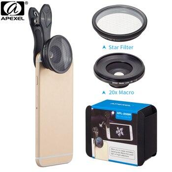 Lente de teléfono móvil APEXEL 2in1 25mm 20x lente super macro con filtro de estrella lente de Fotografía Móvil lente para smartphone APL-25SR