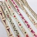 Винтажная хлопковая лента 5Y 15 мм с принтом для рукоделия, Подарочная цветочная упаковка для Пасхи, Дня Святого Валентина, брака, Рождества