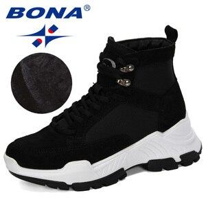 Image 4 - 善意 2019 新人デザイナースエード冬の靴女性の雪のブーツプラットフォーム暖かいアンクルブーツの女性の厚いかかとぬいぐるみbota ş mujer
