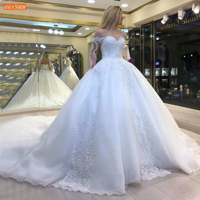 Luxury White Wedding Dresses Lace Up Appliqued Beaded Vestido De Noiva 2020 Custom Made Ball Gown Bridal Dress Long Chapel Train 1