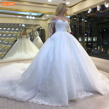 Luxury White Wedding Dresses Appliqued Lace Up Ball Gown Bridal Dress Ivory Robe De Mariee Royal Train Custom Made Wedding Gowns Buy Inexpensively In The Online Store With Delivery Price Comparison