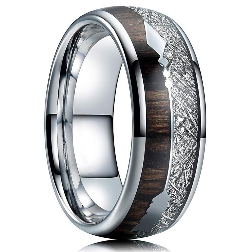 FDLK   8mm Tungsten Carbide Stainless Steel Rings Inlay Hawaiian Koa Wood Meteorite Arrow Wedding Band Men's Jewelry