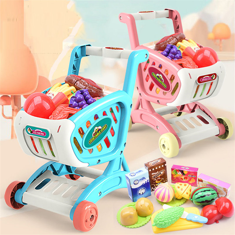 15Pcs/set Shopping Cart Supermarket Trolley Push Car Girls Toys Cutting Food Fruit Pretend Play Kids Toy Mini Shopping Basket