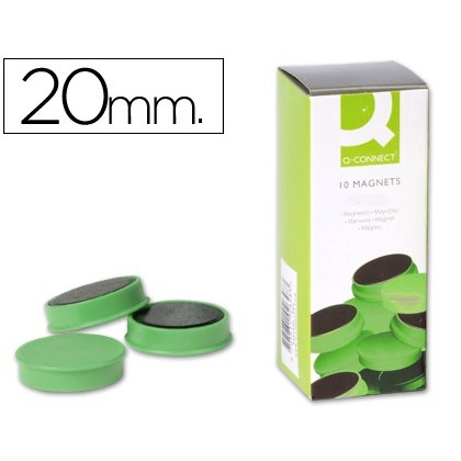 MAGNETS FOR CLIP STRIP Q-CONNECT IDEAL FOR Slates MAGNETICAS20 MM GREEN-10 'S BOX MAGNETS